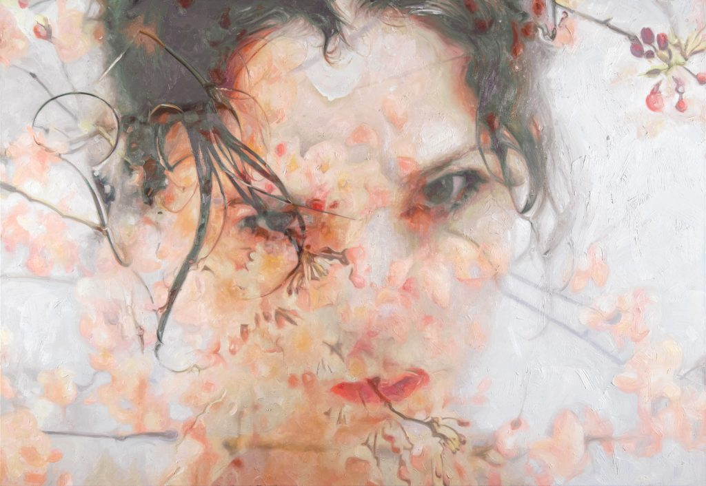 alyssa monks painting woman portrait face cherry blossoms